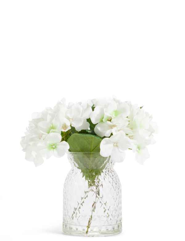 b78173f8b White Hydrangeas in Pressed Glass Vase