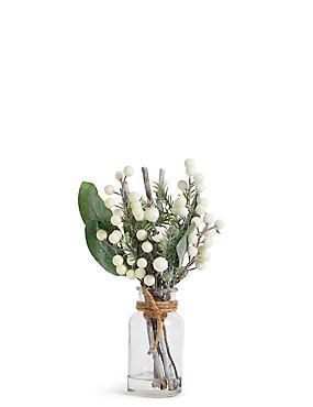 Glitter Berry & Twigs in Clear Vase