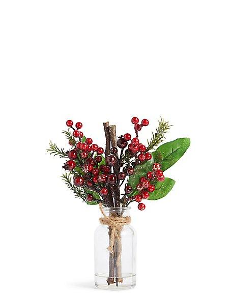 Berries & Twigs in Clear Vase
