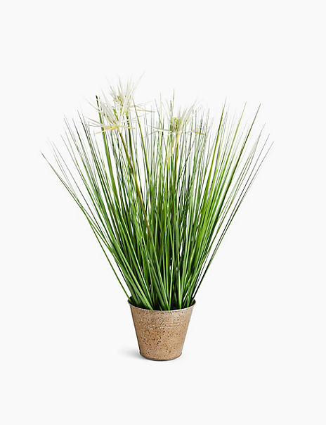 Grass with White Flowers in Tin Pot
