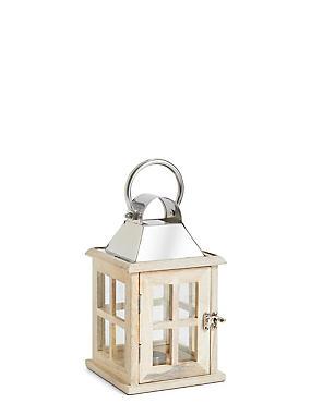 Small Wooden Lantern, WHITE, catlanding