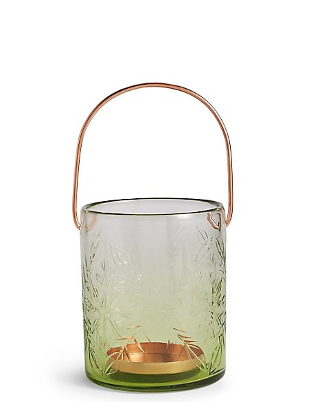Large Etched Glass Lantern