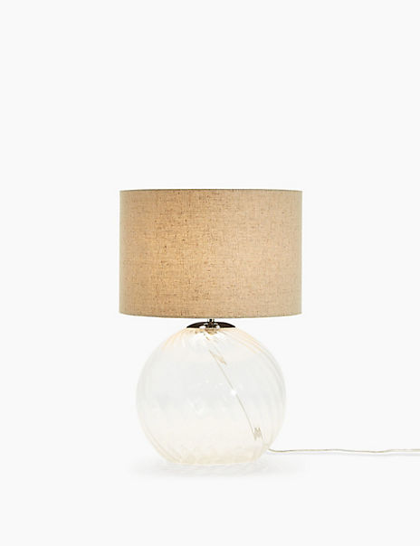 Maggie Ribbed Glass Table Lamp Grey Shade