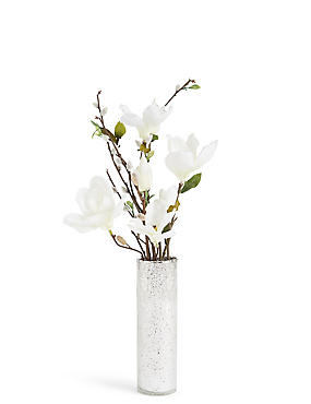 Magnolia & Pussywillow in Mercury Vase