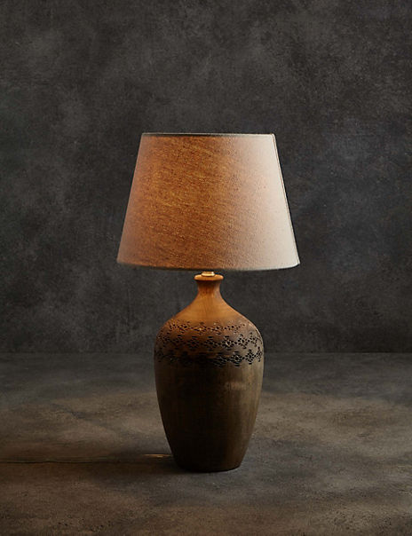 Bianca Wooden Urn Table Lamp