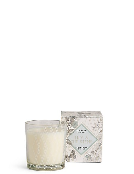Lily & Cut Stem Filled Candle