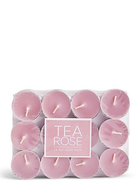 Tea Rose 24 Scented Tea Lights