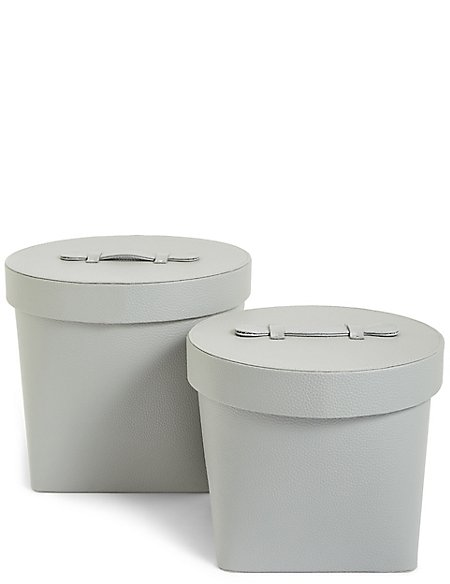 Set of 2 Faux Leather Hat boxes