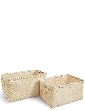 Set of 2 Bamboo Rectangle Baskets