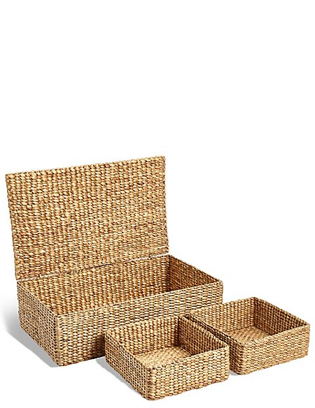 Water Hyacinth Set of 3 Under Bed Storage