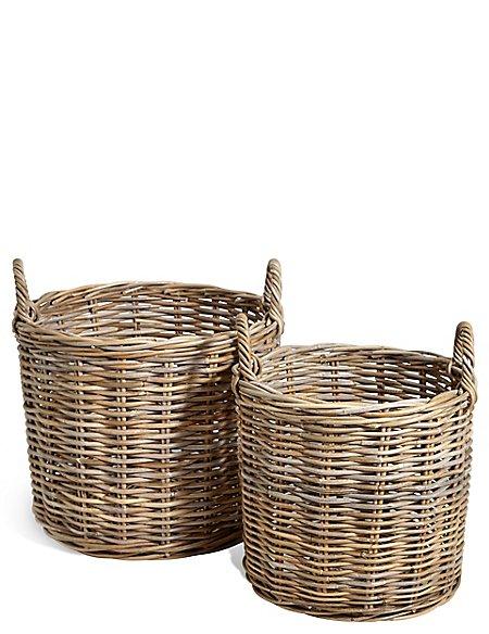 Kubu Rattan Set of 2 Round Baskets