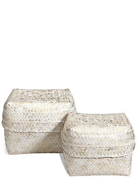 Hand Woven Set of 2 Bamboo Boxes