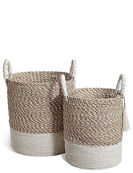 Raffia + Seagrass Set Of 2 Round Baskets