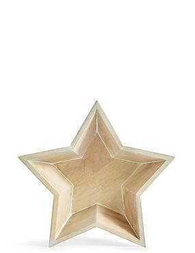 Large Wooden Star Bowl