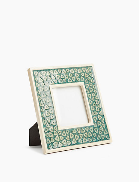 Ceramic Geometric Photo Frame 3 x 3 inch (7 x 7cm)