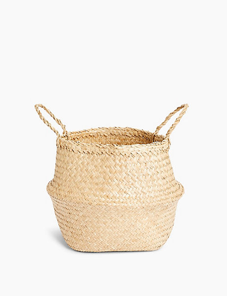 Large Straw Belly Basket