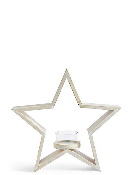 Large Wooden Star Tea Light Holder