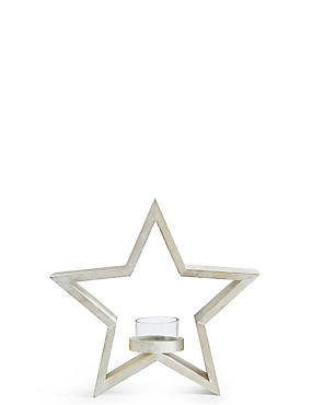 Small Wooden Star Tea Light Holder