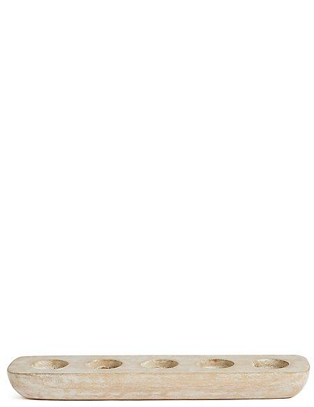 Wooden Tray 5 Tea Light Holder