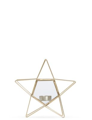 Small Wire & Glass Star Tea Light by Marks & Spencer