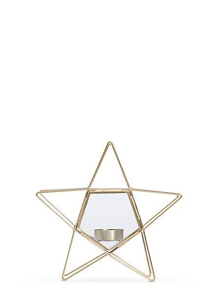 Small Wire & Glass Star Tea Light