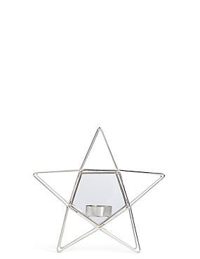 Small Wire & Glass Star Tea Light, SILVER, catlanding