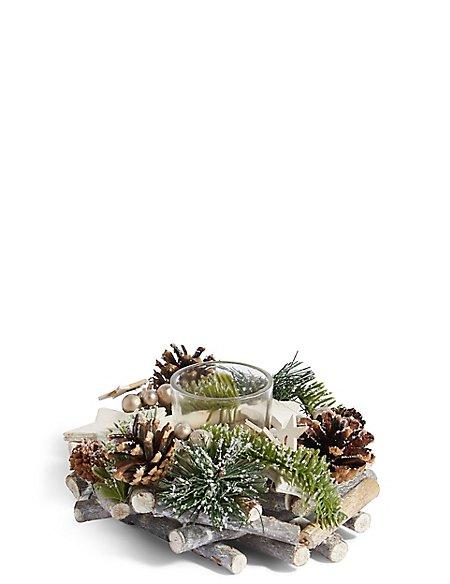 Woodland Pine Wreath Tea Light Holder