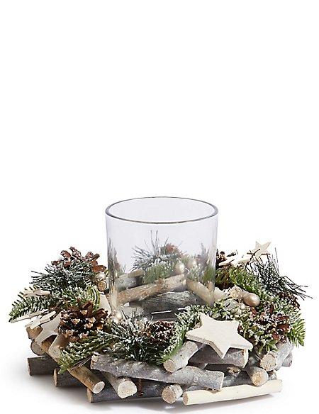 Woodland Pine Wreath Pillar Candle Holder