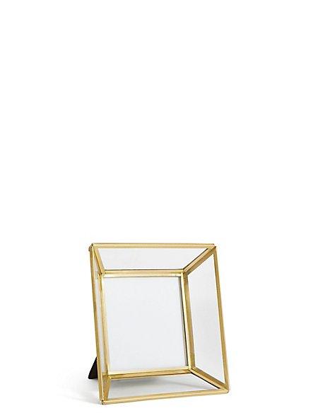 Glass & Brass Photo Frame 10 x 10cm (4 x 4 inch)