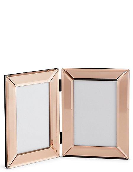 2 Aperture Mirrored Hinged Photo Frame 10 x 15cm (4 x 6 inch)