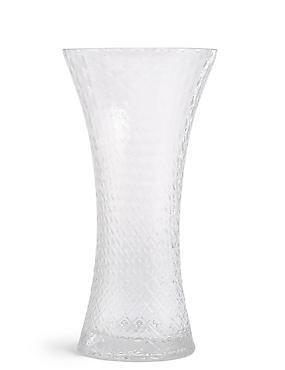 Large Flared Pressed Diamond Vase
