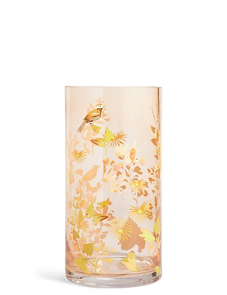 Large Decal Bird Vase