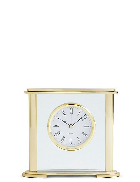 Glass & Metal Mantel Clock