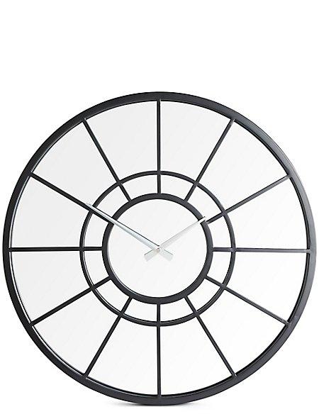 Metal Mirrored Window Wall Clock