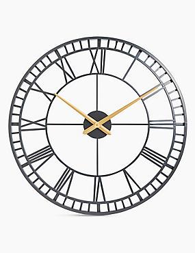 Large Metal Skeleton Wall Clock