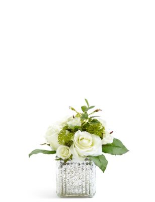 Rose Arrangement In Mercury Glass Cube by Marks & Spencer