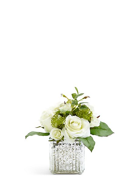 Rose Arrangement in Mercury Glass Cube