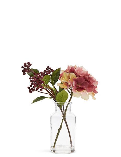 Hydrangea & Berries in Glass Bottle