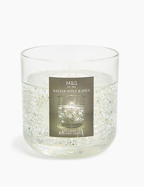 Winter Apple & Spice Silver Light Up Candle
