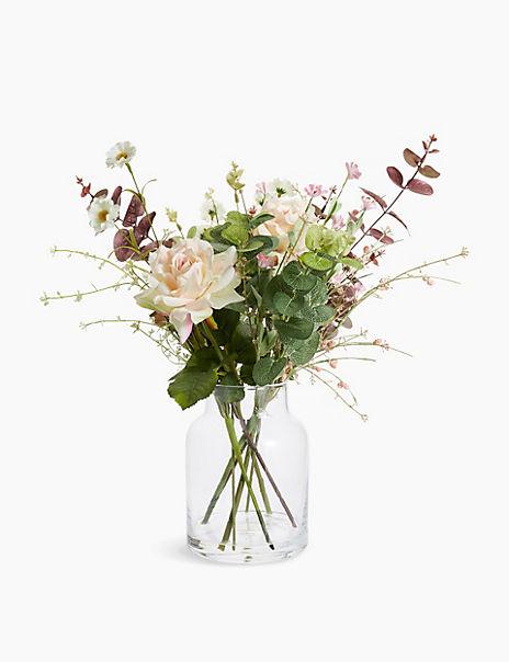 Rose & Wildflowers in Large Jar