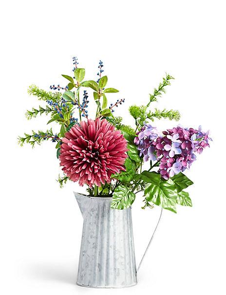 Mixed Flower Arrangement in Metal Jug