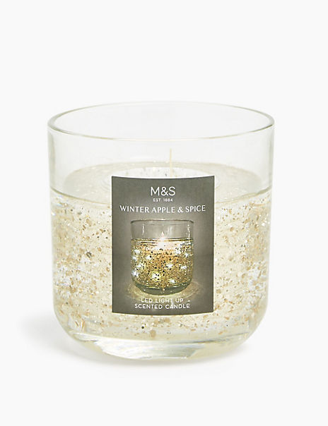 Winter Apple & Spice Gold Light Up Candle