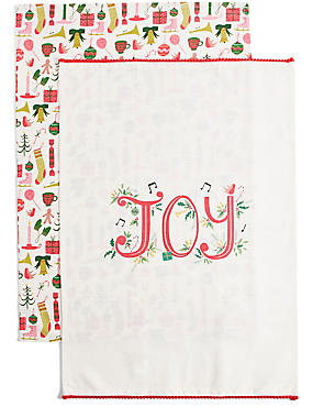 Set of 2 Joy Print Tea Towels
