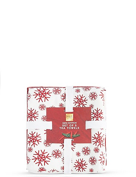 Set of 5 Christmas Tea Towels