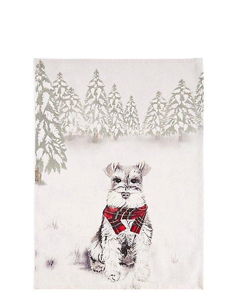 Festive Dog Print Tea Towel