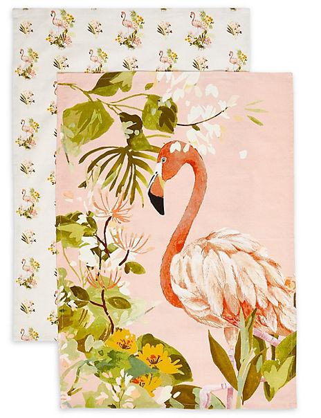 Set of 2 Flamingo Design Tea Towels