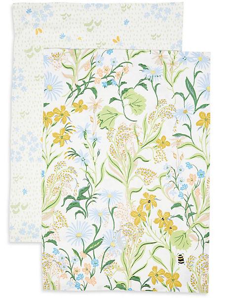 Set of 2 Floral Design Tea Towels