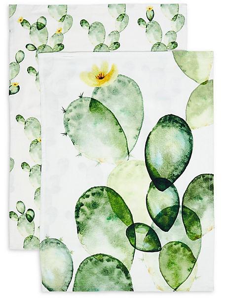 Set of 2 Cactus Design Tea Towels