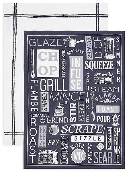 Set of 2 Core Print Cook Slogan Tea Towels