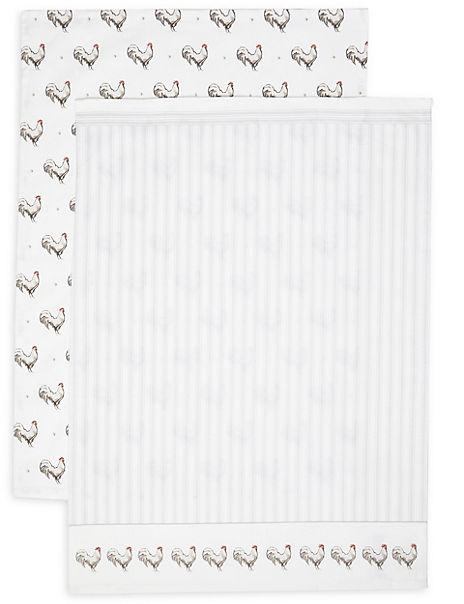 Set of 2 Core Print Hen Tea Towels